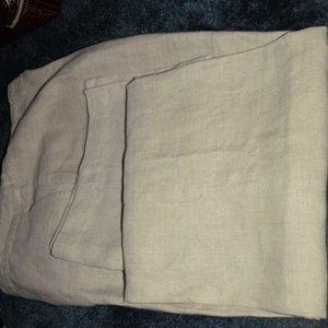 EILEEN FISHER Tan Linen Summer Pants S